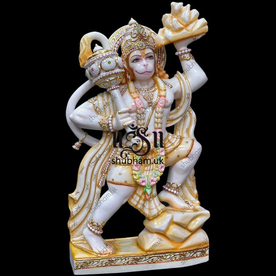 Engraved Beautifully Marble Statue of Hanuman in Antique colour theme